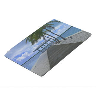 """""""TROPICAL SCENE: PIER WITH GAZEBO AND PALM TREES. iPad PRO COVER"""