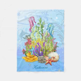 Tropical Sea Life Blue Fleece Blanket