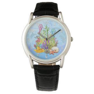 Tropical Sea Life Blue Wrist Watch
