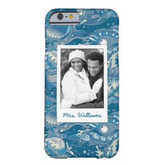 Tropical Sea Pattern | Your Photo & Name Barely There iPhone 6 Case