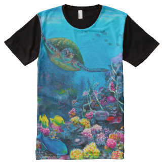 Tropical Sea Turtle Reef All Over T Shirt All-Over Print T-Shirt