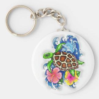 Tropical Sea Turtles Basic Round Button Key Ring