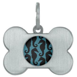 Tropical Seahorse Silhouettes - Black Blue Pet Tag