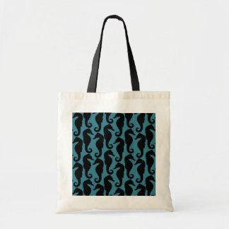 Tropical Seahorses Silhouettes - Black Blue Tote Bags