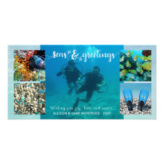 """Tropical """"Seas AND Greetings"""" Five Photo Collage Card"""