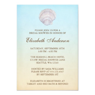 Tropical Seashell Beach Bridal Shower 13 Cm X 18 Cm Invitation Card