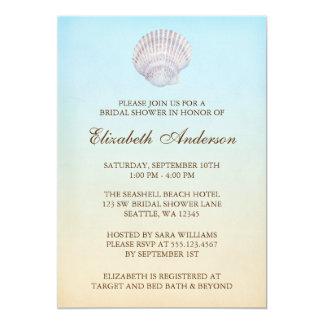 Tropical Seashell Beach Bridal Shower Custom Announcements