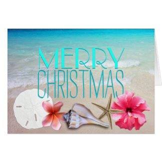 Tropical Seashells and Flowers Message Christmas Card