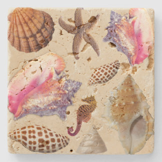 Tropical Seashells Conch Starfish Stone Coaster