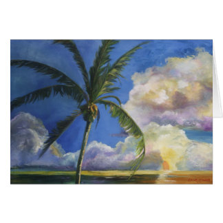 Tropical Seaside Sunset Card