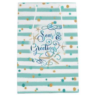 Tropical SEAson's Greetings, Aqua Stripes & Dots Medium Gift Bag