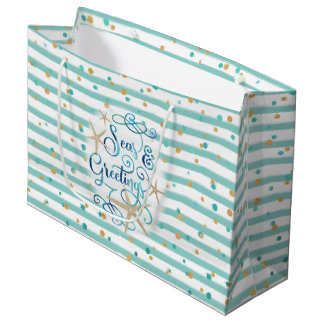 Tropical SEAson's Greetings, Teal Stripes, Dots Large Gift Bag