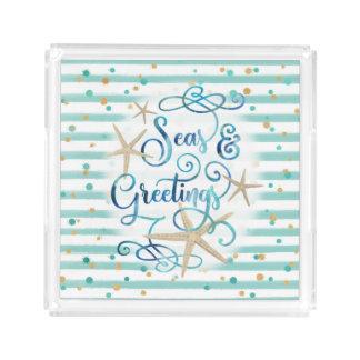 """Tropical """"SEAson's Greetings"""" Aqua Stripe Acrylic Tray"""