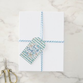 Tropical SEAson's Greetings, Teal/Brown Stripes Gift Tags