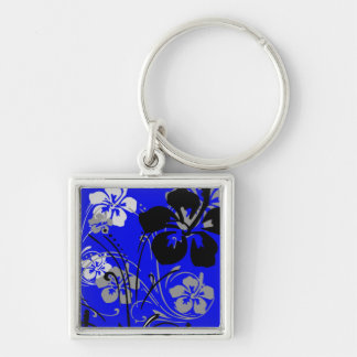 Tropical Serenade (Blue) Square Keychain