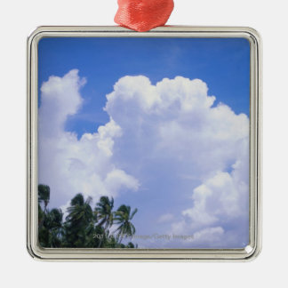 Tropical shoreline christmas ornament