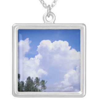 Tropical shoreline silver plated necklace