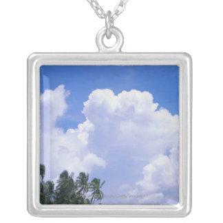 Tropical shoreline square pendant necklace