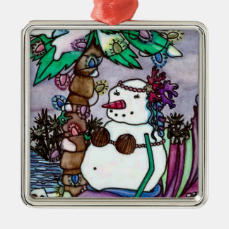 Tropical Snowmaid square ornament