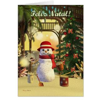 Tropical Snowman Feliz Natal Portuguese Card