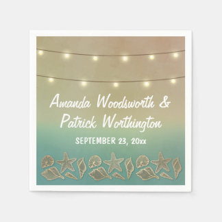 Tropical Starfish and Seashell Wedding Napkins Disposable Napkin
