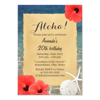 Tropical Starfish Beach Floral Birthday Party Card