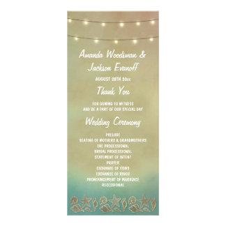 Tropical Starfish Beach Seashell Wedding Programs Rack Card