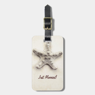 tropical starfish just married travel luggage tag
