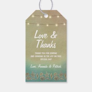 Tropical Starfish +Seashell Wedding Thank You Tags