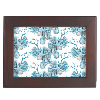 Tropical Starfish Shells Coral Blue White box Memory Box