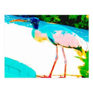 Tropical stork graphic theme postcard