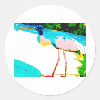 Tropical stork graphic theme round sticker
