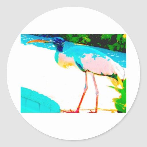 Tropical stork graphic theme round stickers