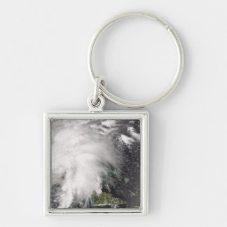 Tropical Storm Fay 5 Silver-Colored Square Key Ring
