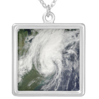 Tropical Storm Hanna over the East Coast 2 Silver Plated Necklace