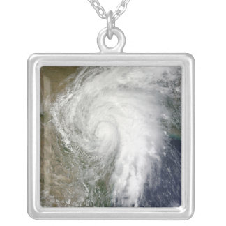 Tropical Storm Hermine over Texas Silver Plated Necklace