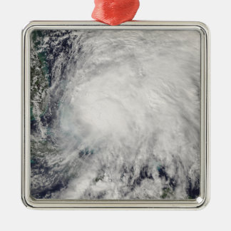Tropical Storm Noel over the Bahamas Silver-Colored Square Decoration
