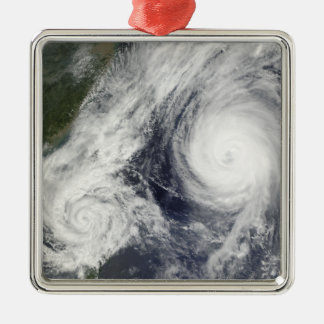 Tropical Storm Parma and Super Typhoon Melor Silver-Colored Square Decoration