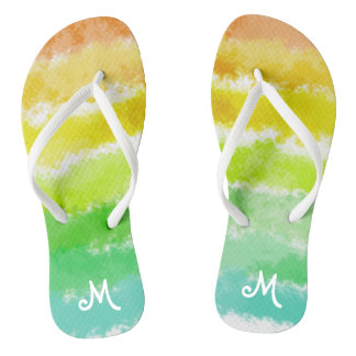 Tropical Stripes Monogrammed Flip Flops