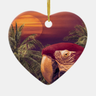 Tropical Style Collage Design Poster Ceramic Heart Decoration