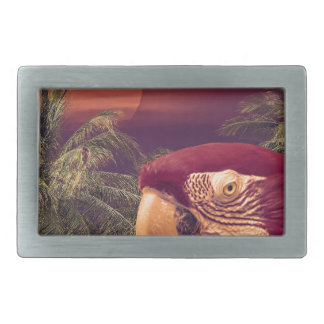 Tropical Style Collage Design Poster Rectangular Belt Buckle