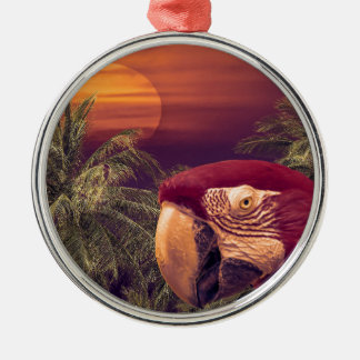 Tropical Style Collage Design Poster Silver-Colored Round Decoration