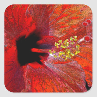 Tropical stylized red hibiscus flower square stickers
