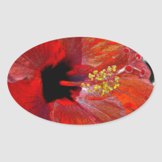 Tropical stylized red hibiscus flower sticker