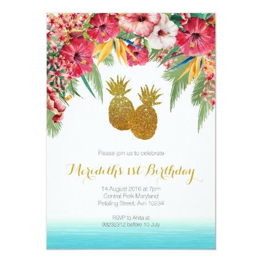 tropical summer birthday invitation zazzle co uk