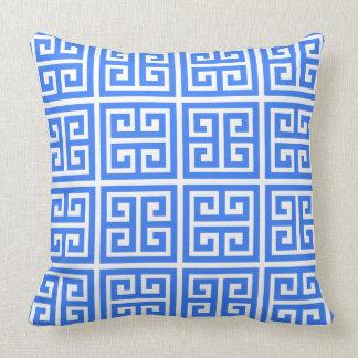 Tropical Summer Blue Greek Key Pattern Throw Pillow