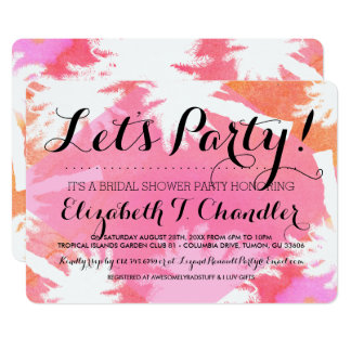 Tropical Summer Bridal Shower Party Invites