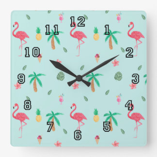 Tropical Summer Flamingo Blue Bedroom Collection Square Wall Clock