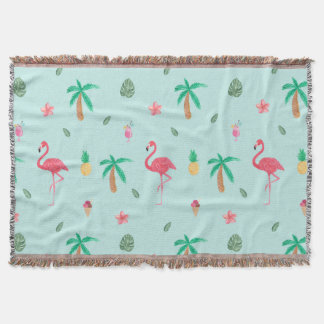 Tropical Summer Flamingo Blue Bedroom Collection Throw Blanket