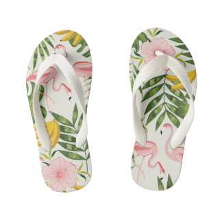 Tropical Summer Flamingo Flip Flops